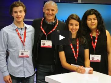 Students interview icons on Riverside TV for National Canadian Film Day